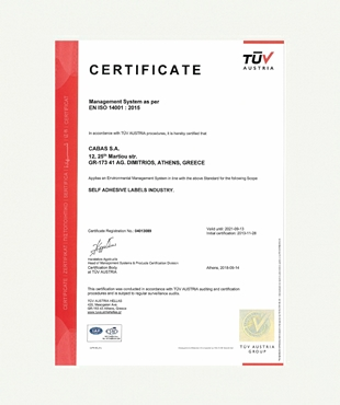 CERTIFICATION EN ISO 14001:2015